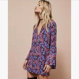 Free People Floral Purple Bell Sleeve Tunic Top S